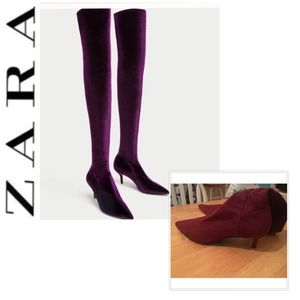 🆕 NWOT ZARA Thigh High Velvet Boots Burgundy